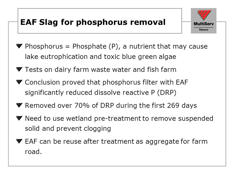 EAF Slag for phosphorus removal