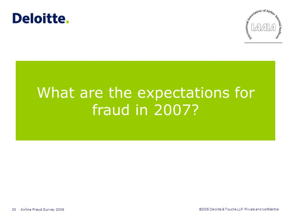 What are the expectations for fraud in 2007