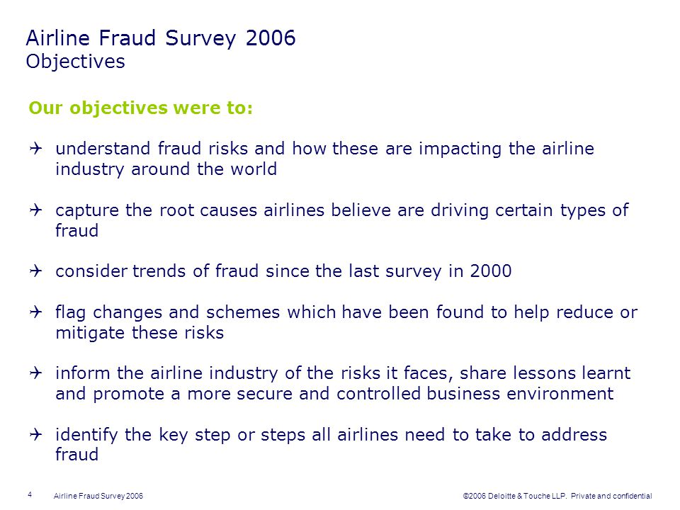 Airline Fraud Survey 2006 Objectives