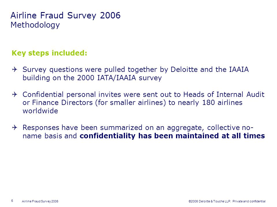 Airline Fraud Survey 2006 Methodology