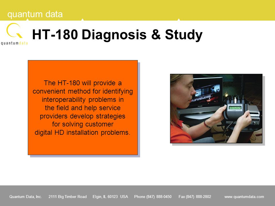 HT-180 Diagnosis & Study The HT-180 will provide a
