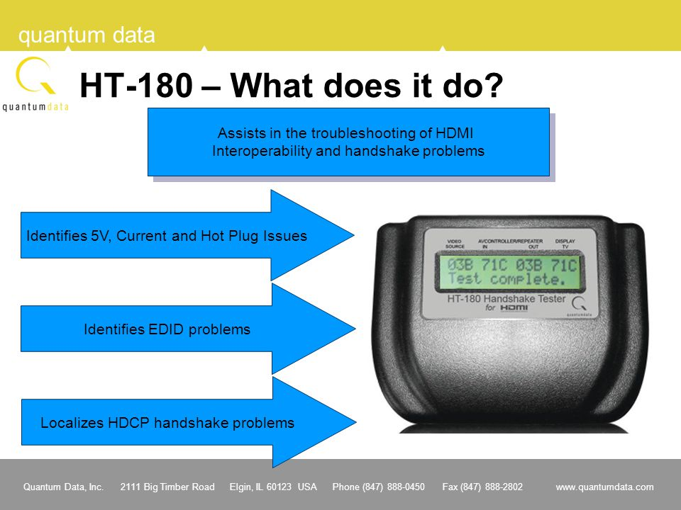 HT-180 – What does it do Assists in the troubleshooting of HDMI
