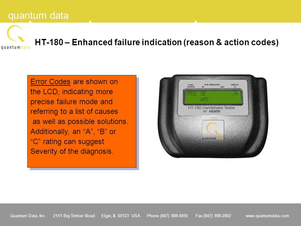 HT-180 – Enhanced failure indication (reason & action codes)