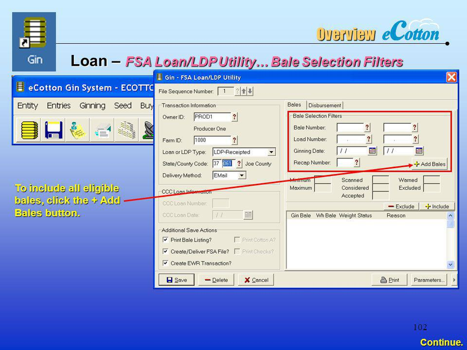 Loan – FSA Loan/LDP Utility… Bale Selection Filters