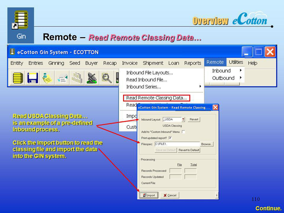 Remote – Read Remote Classing Data…