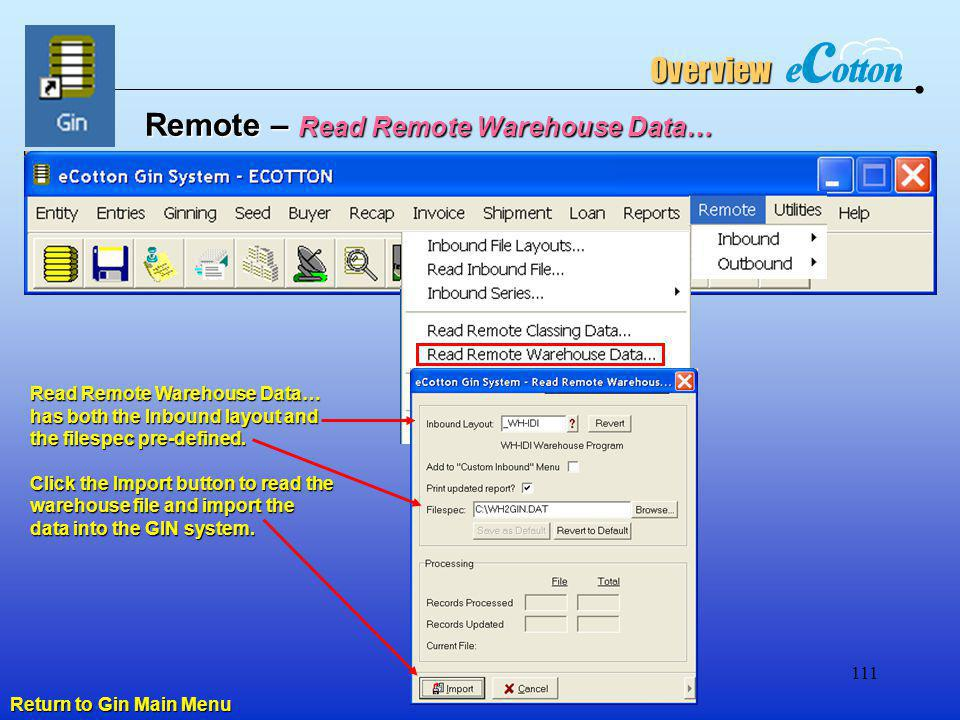 Remote – Read Remote Warehouse Data…