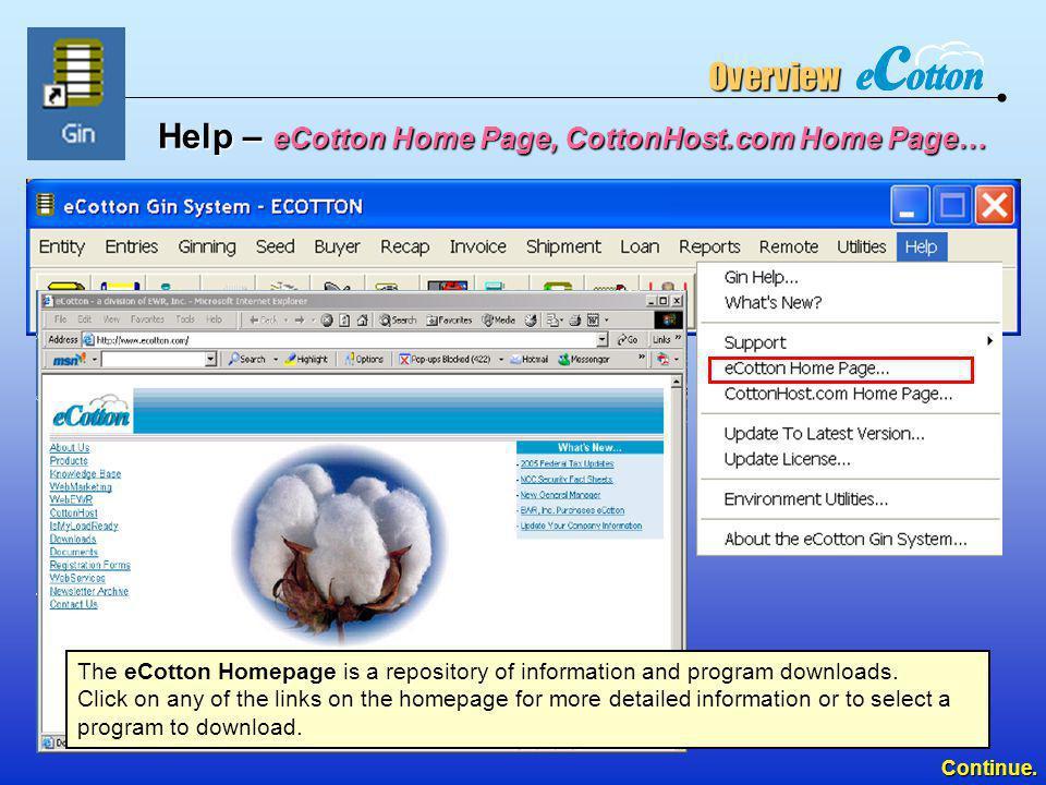 Help – eCotton Home Page, CottonHost.com Home Page…