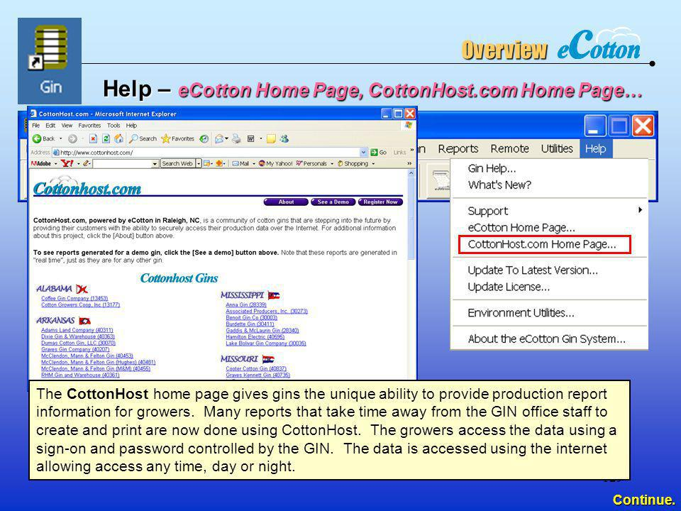 Help – eCotton Home Page, CottonHost.com Home Page…