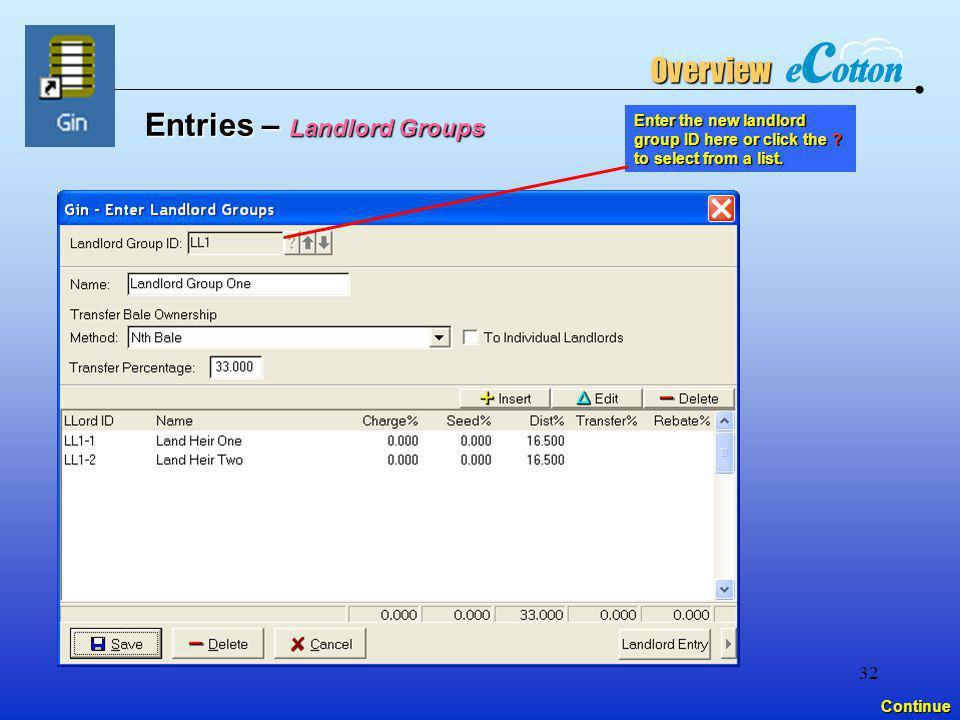 Entries – Landlord Groups