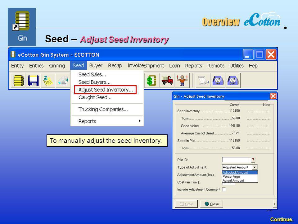 Seed – Adjust Seed Inventory