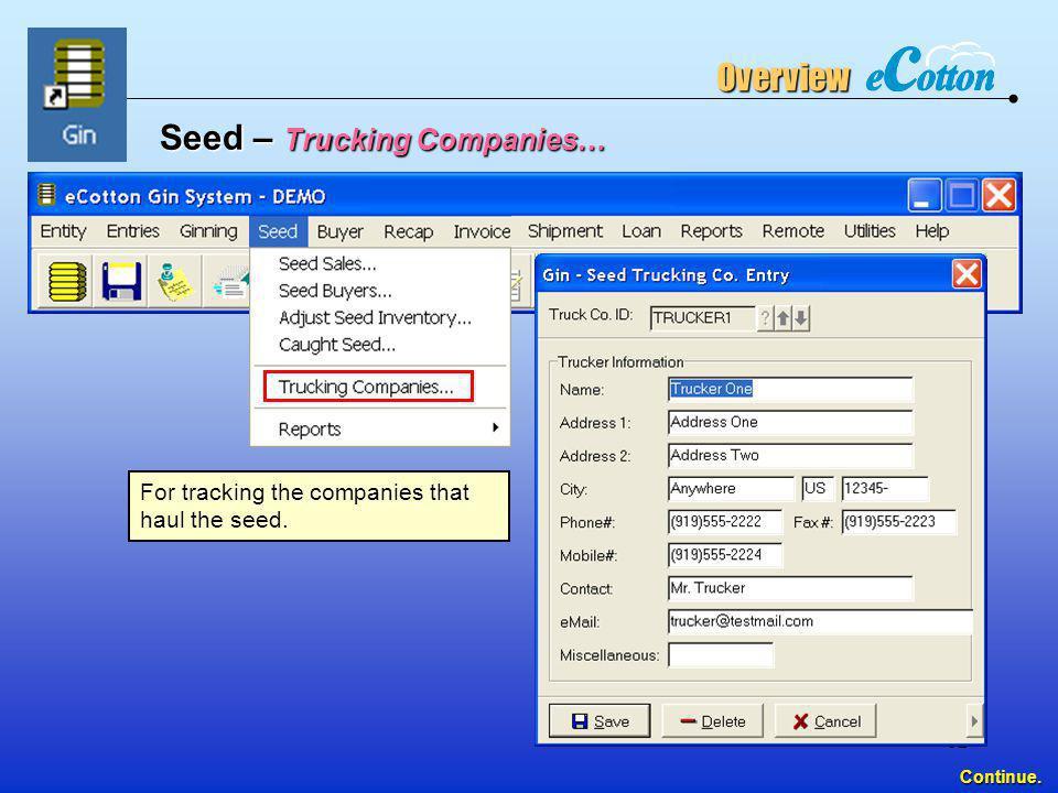 Seed – Trucking Companies…