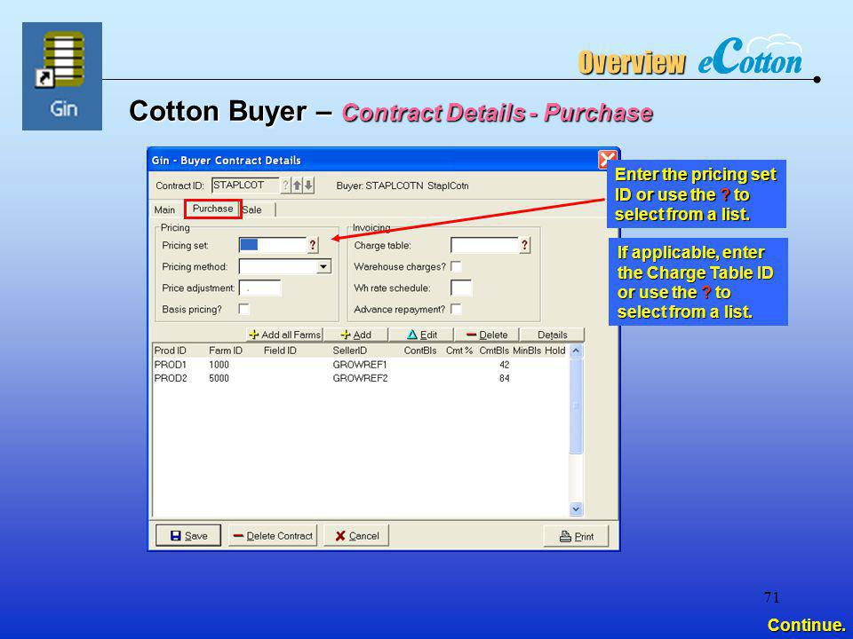 Cotton Buyer – Contract Details - Purchase