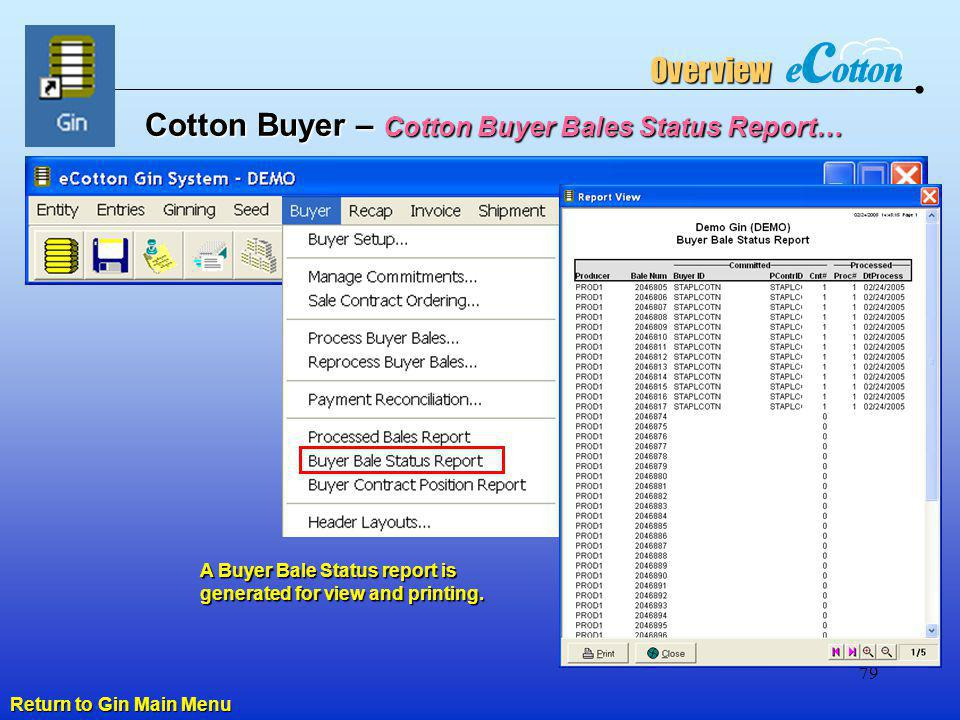Cotton Buyer – Cotton Buyer Bales Status Report…