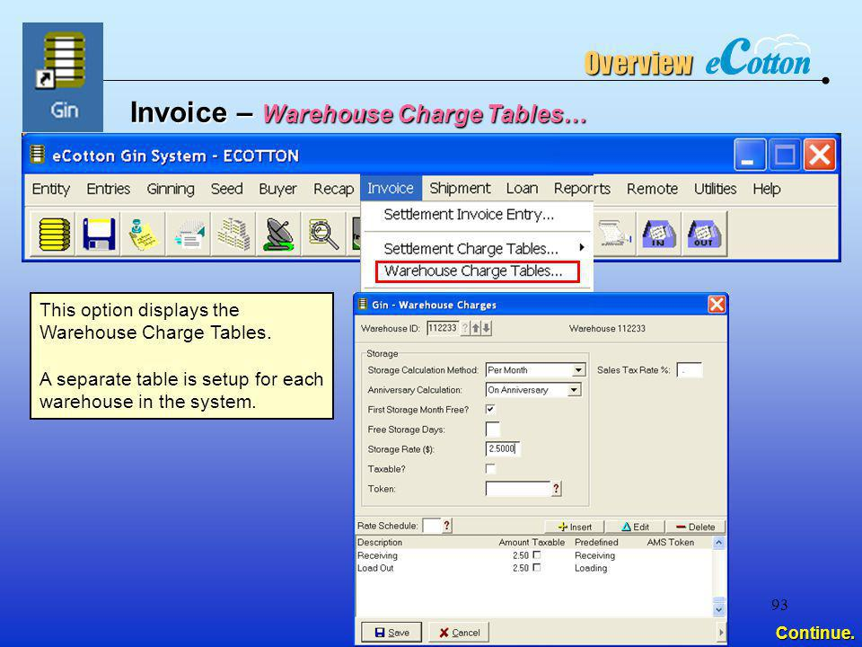 Invoice – Warehouse Charge Tables…