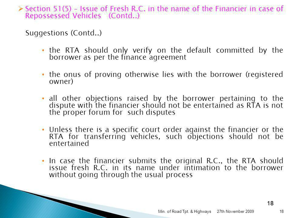 Section 51(5) – Issue of Fresh R. C