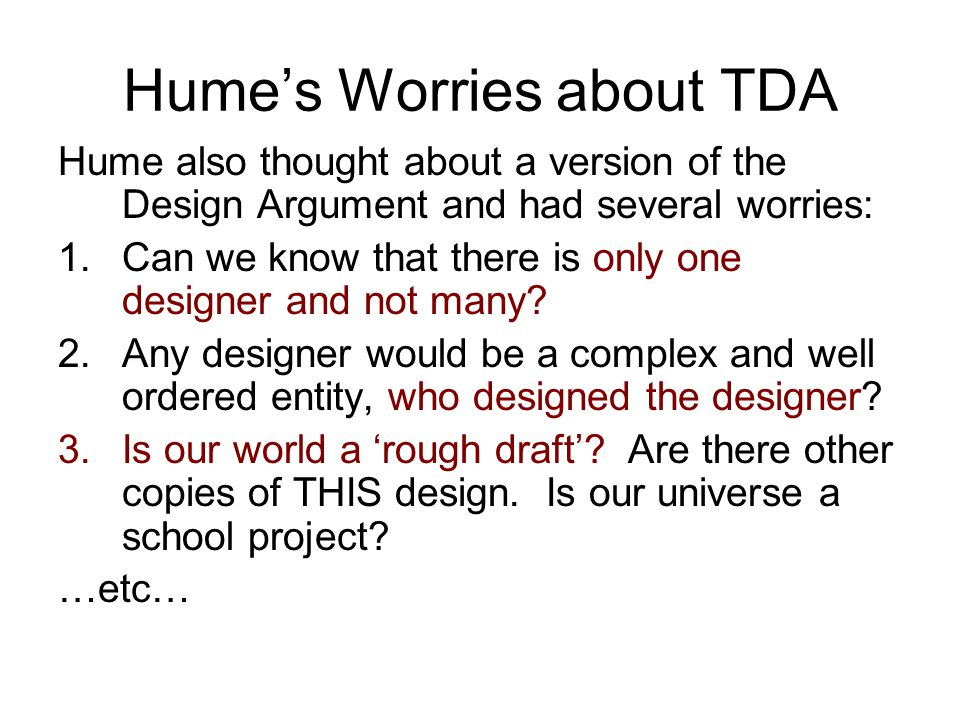 Hume's Worries about TDA