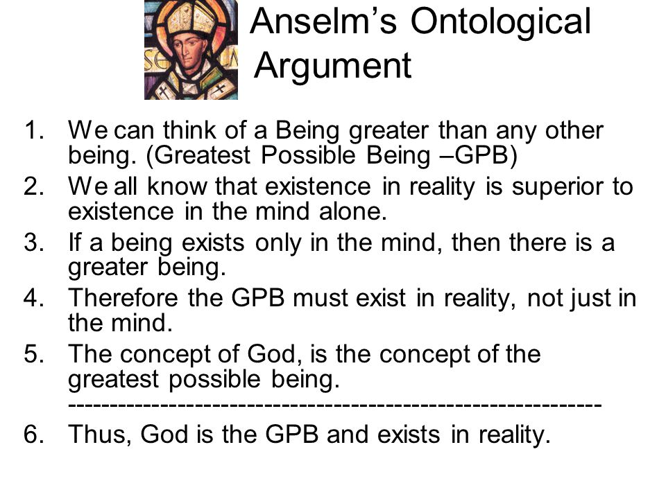anselms ontological argument and gaunilos response The ontological argument an explanation of the argument that once we have grasped in our minds the concept of god we can see that his non-existence is impossible.