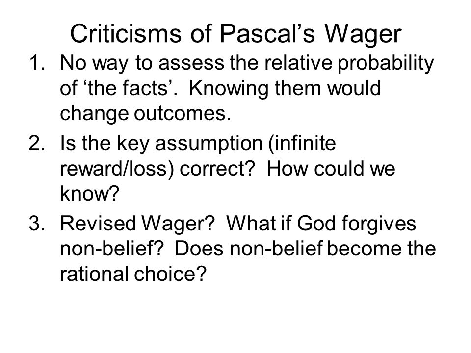 Criticisms of Pascal's Wager