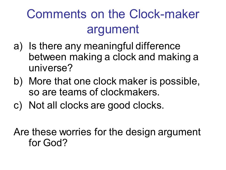 Comments on the Clock-maker argument
