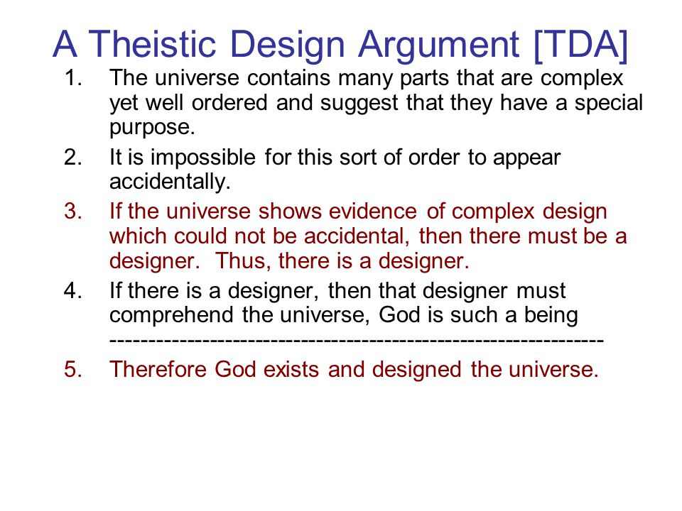 A Theistic Design Argument [TDA]