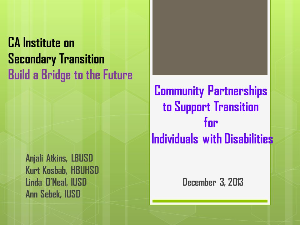 CA Institute on Secondary Transition Build a Bridge to the Future Community Partnerships to Support Transition for Individuals with Disabilities