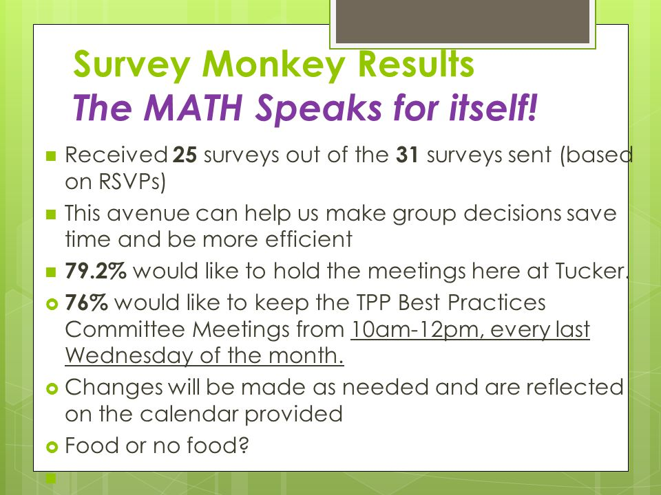 Survey Monkey Results The MATH Speaks for itself!