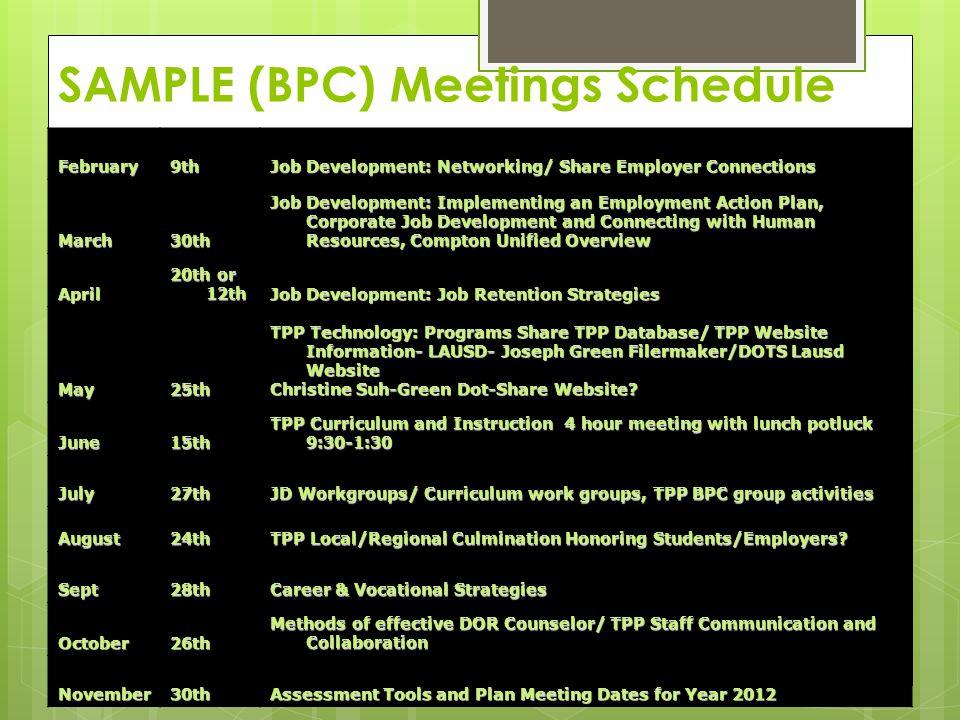 SAMPLE (BPC) Meetings Schedule