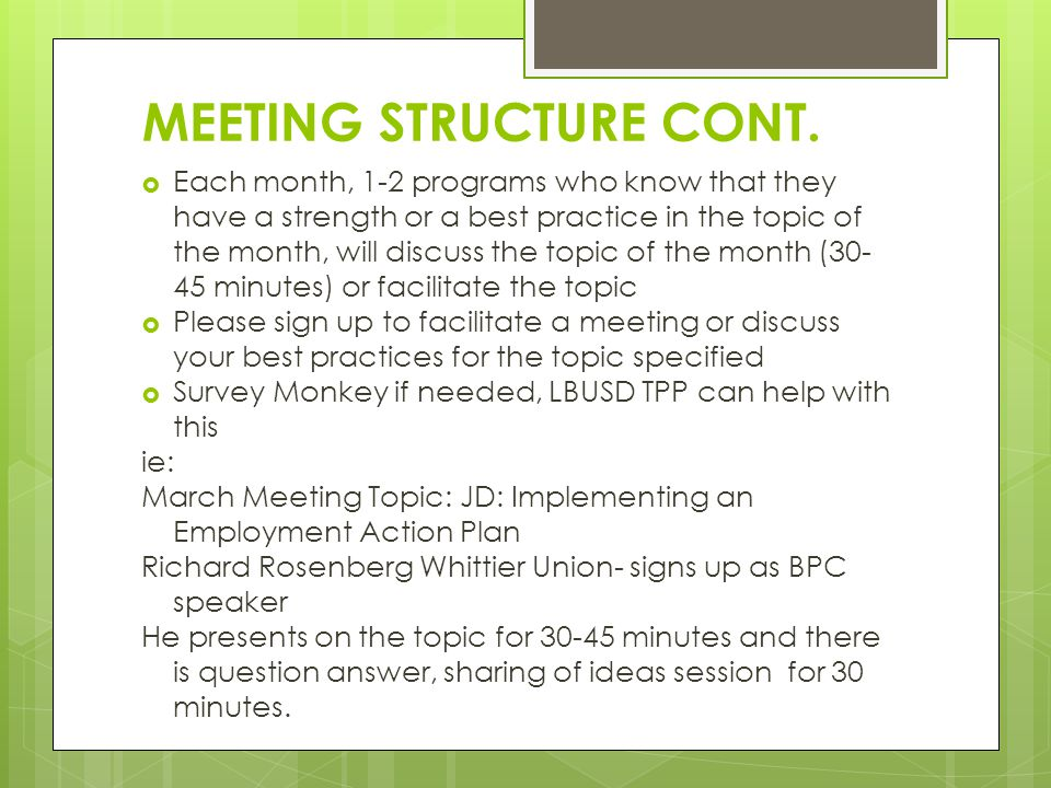 MEETING STRUCTURE CONT.