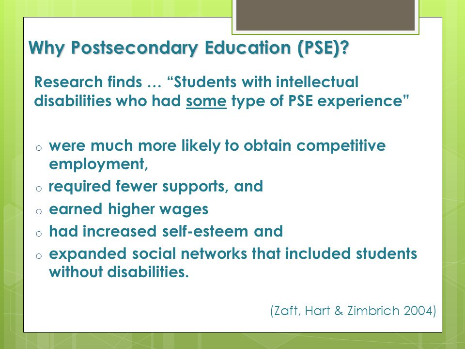 Why Postsecondary Education (PSE)