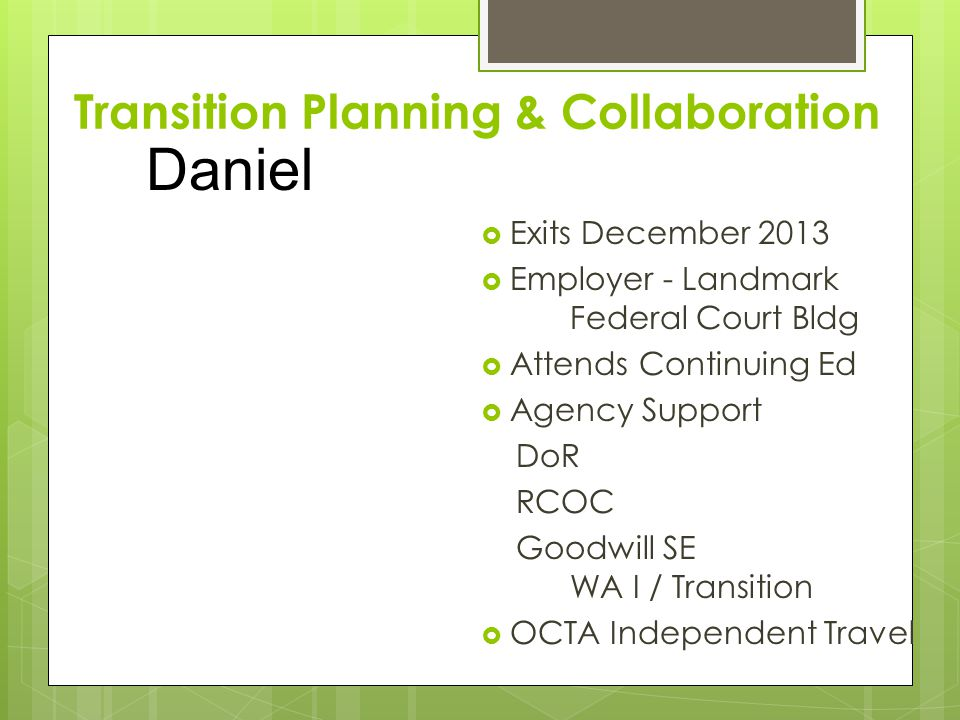 Transition Planning & Collaboration