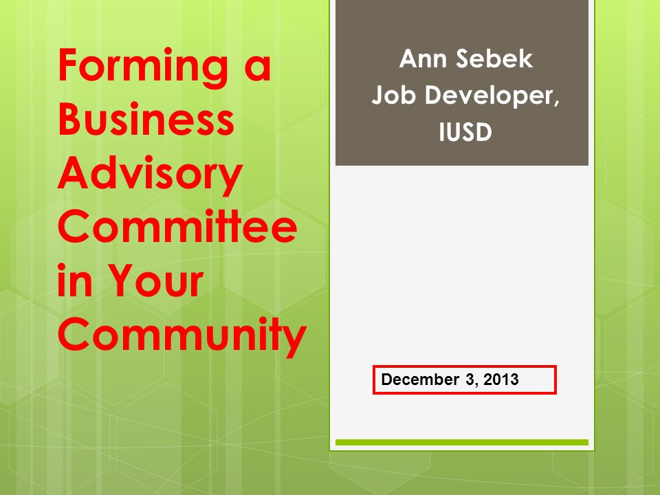 Forming a Business Advisory Committee in Your Community
