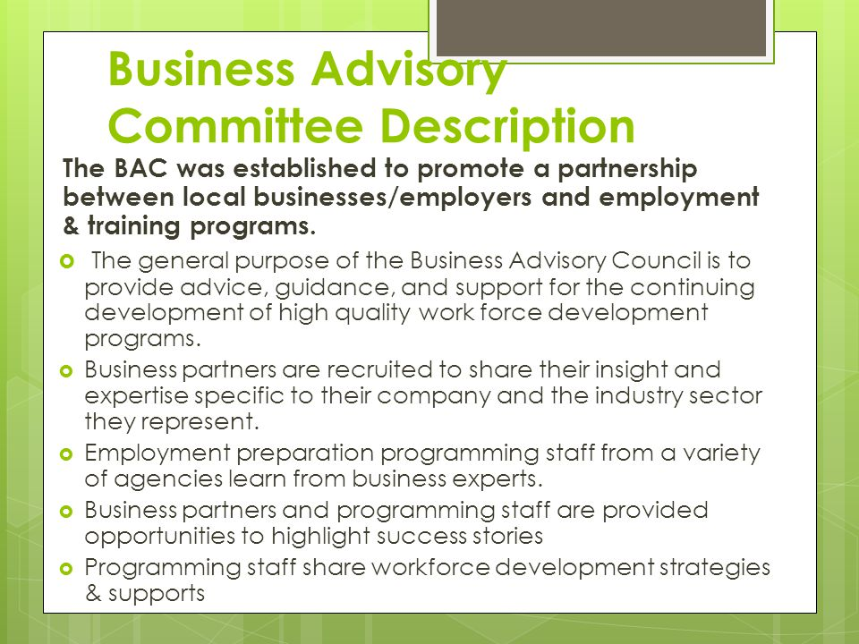 Business Advisory Committee Description