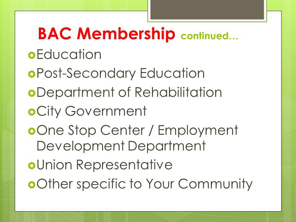 BAC Membership continued…