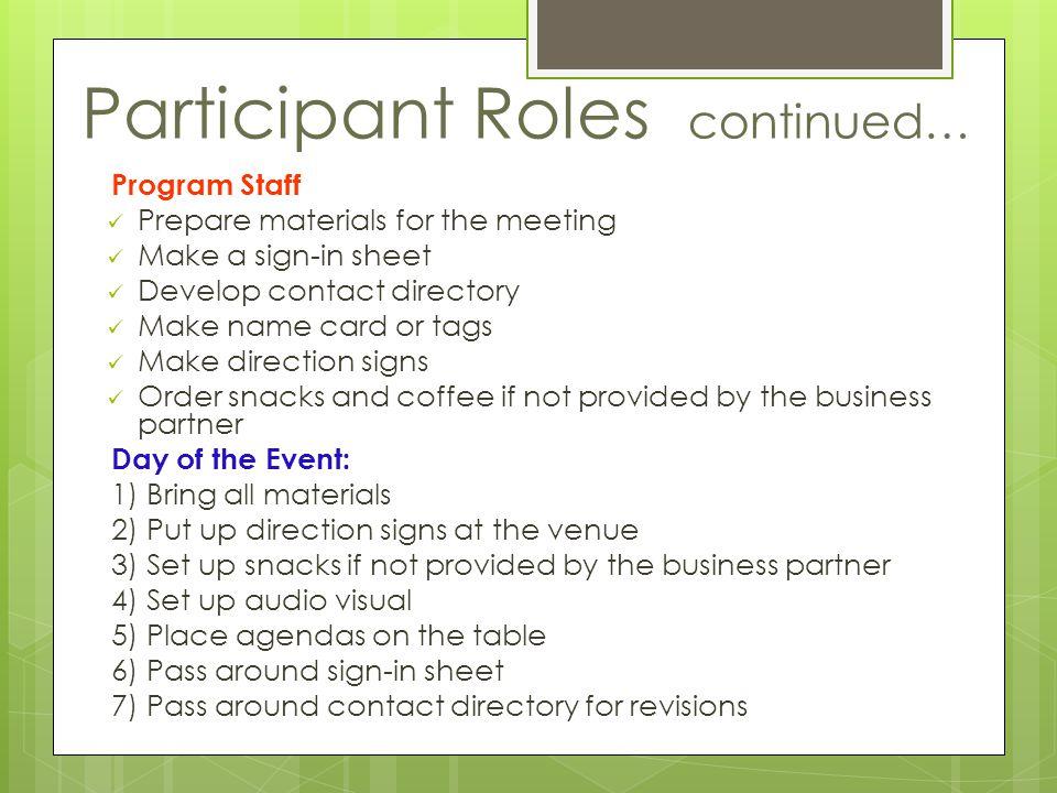 Participant Roles continued…