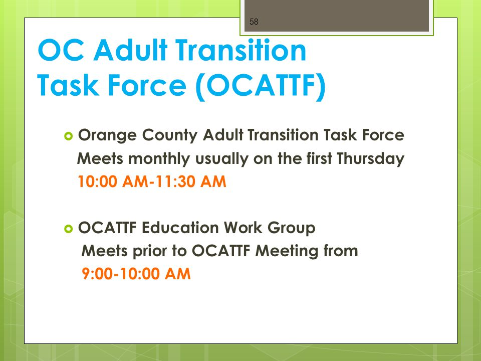 OC Adult Transition Task Force (OCATTF)