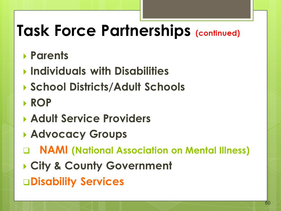 Task Force Partnerships (continued)