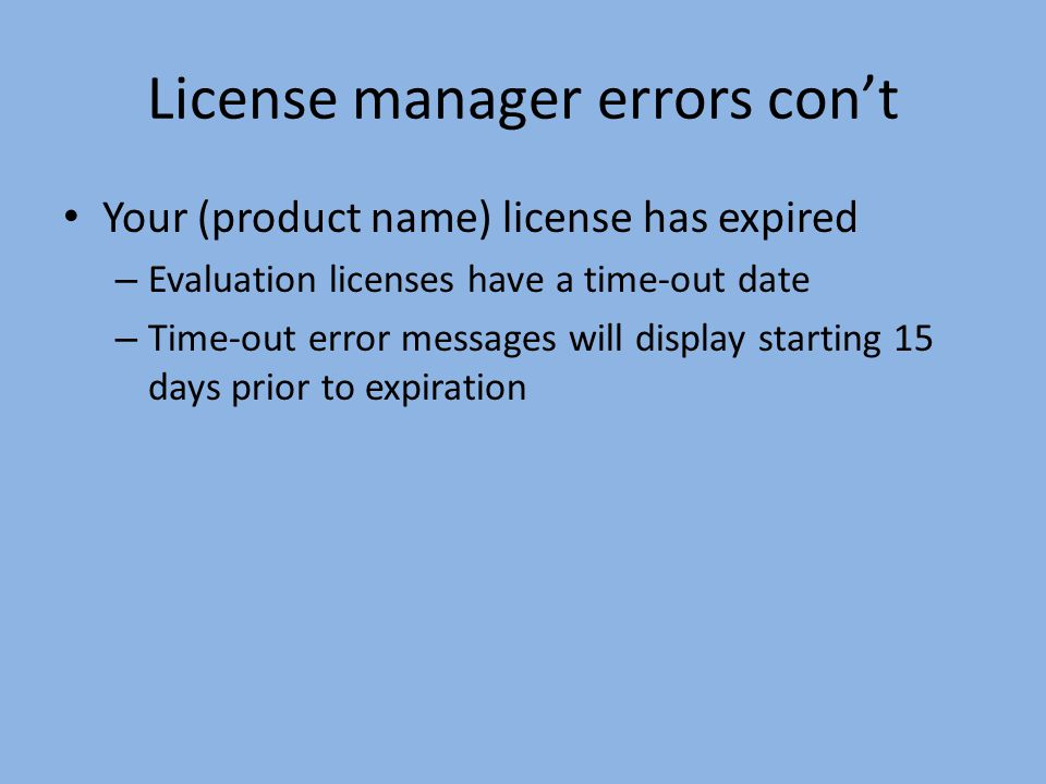 License manager errors con't