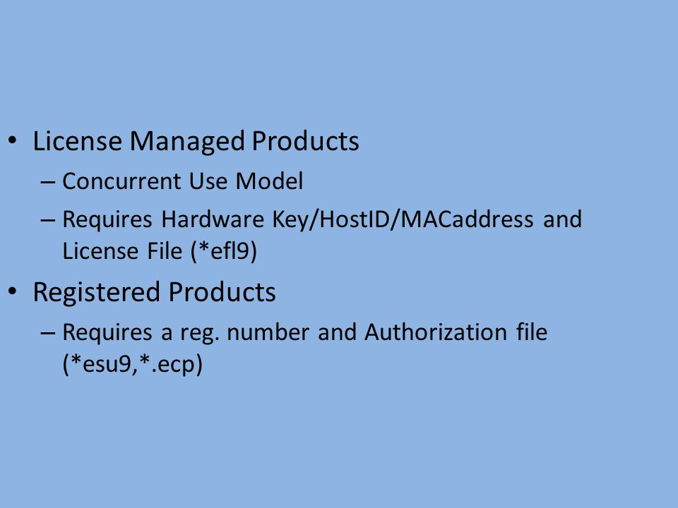 License Managed Products