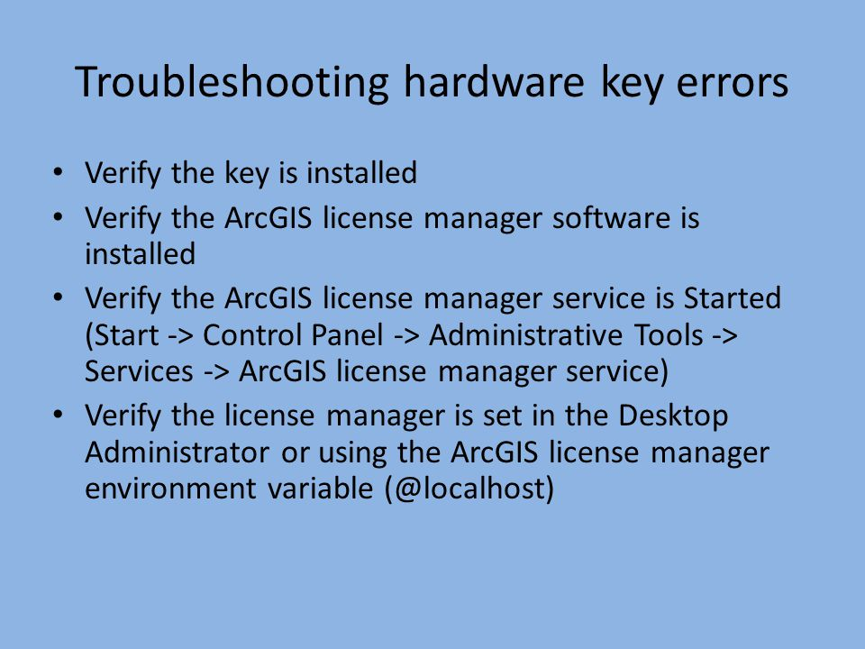 Troubleshooting hardware key errors