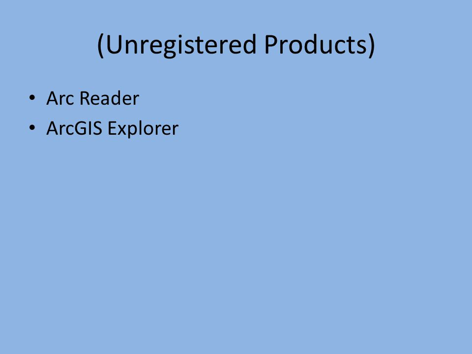 (Unregistered Products)