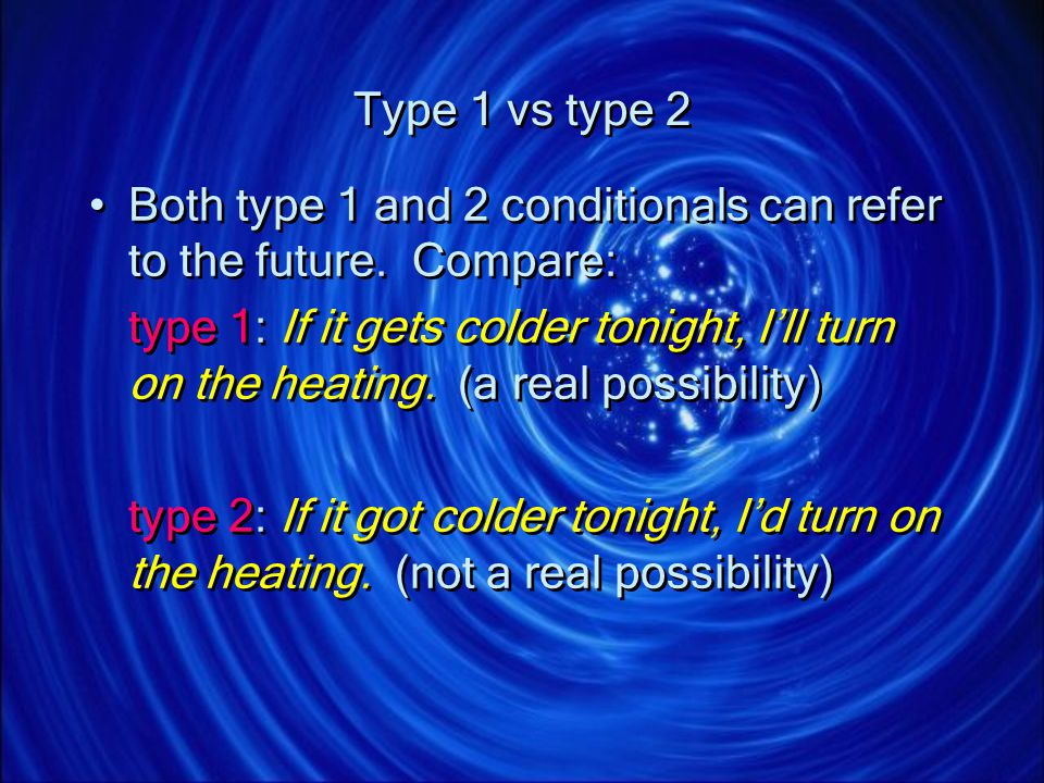 Type 1 vs type 2 Both type 1 and 2 conditionals can refer to the future. Compare:
