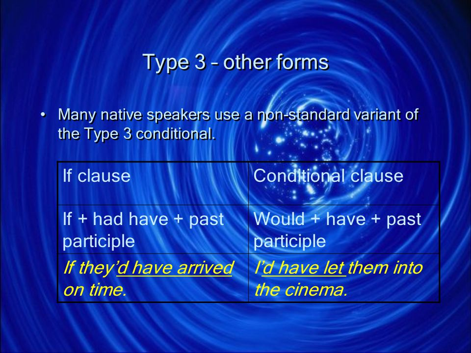 Type 3 – other forms If clause Conditional clause