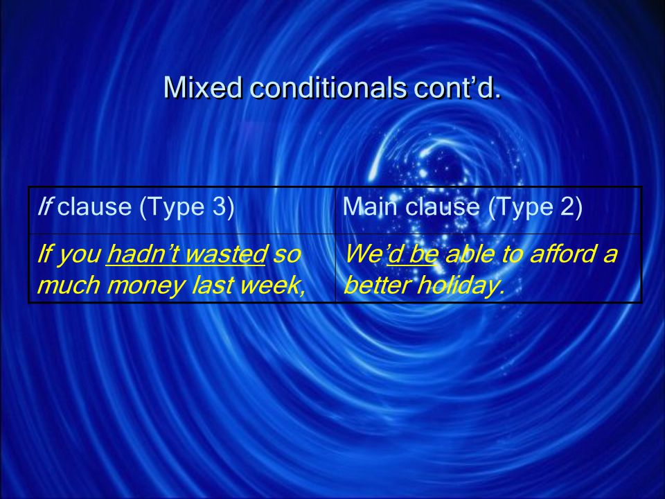 Mixed conditionals cont'd.