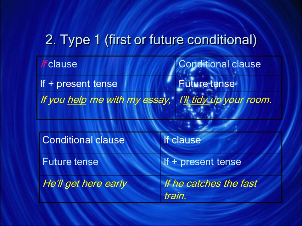 2. Type 1 (first or future conditional)