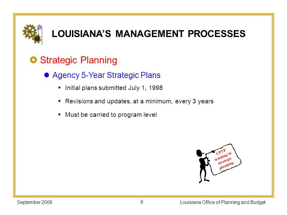 LOUISIANA'S MANAGEMENT PROCESSES CPTP training in strategic planning.