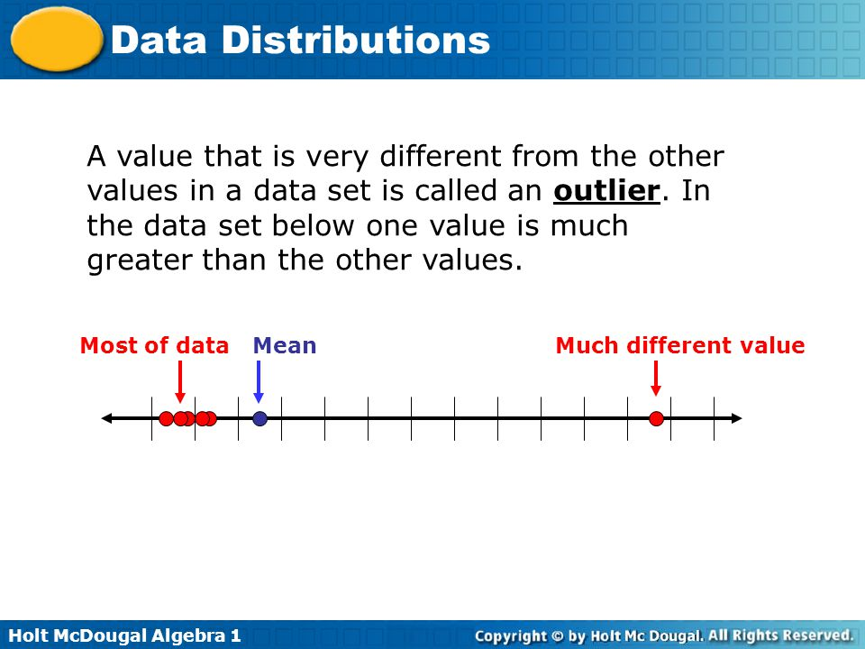 A value that is very different from the other values in a data set is called an outlier. In the data set below one value is much greater than the other values.