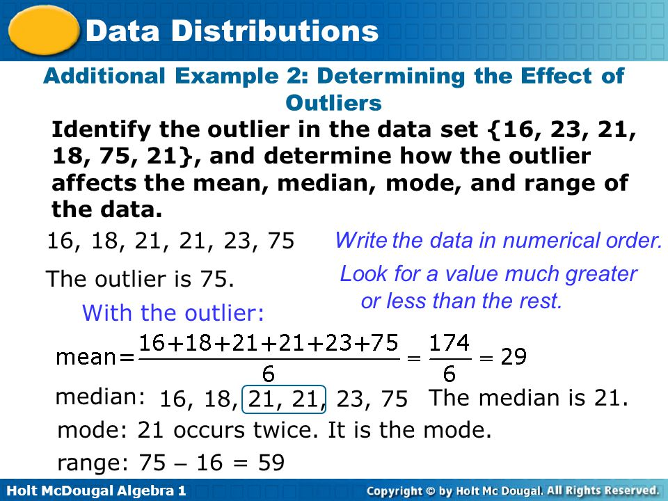 Additional Example 2: Determining the Effect of Outliers