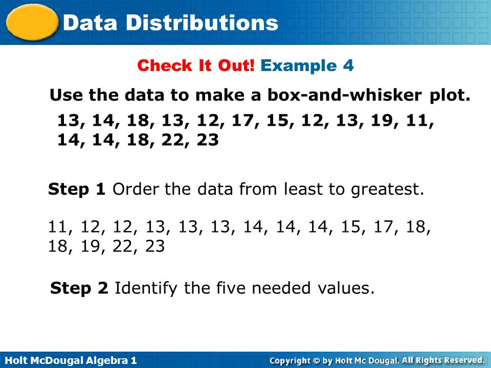 Check It Out! Example 4 Use the data to make a box-and-whisker plot. 13, 14, 18, 13, 12, 17, 15, 12, 13, 19, 11, 14, 14, 18, 22, 23.
