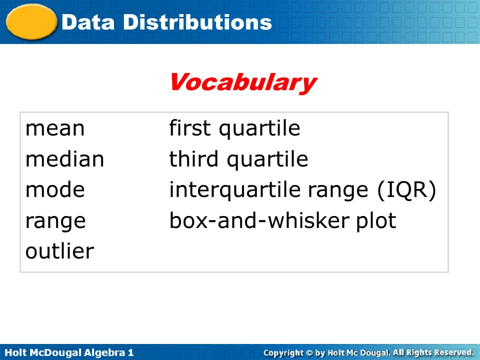 Vocabulary mean first quartile median third quartile