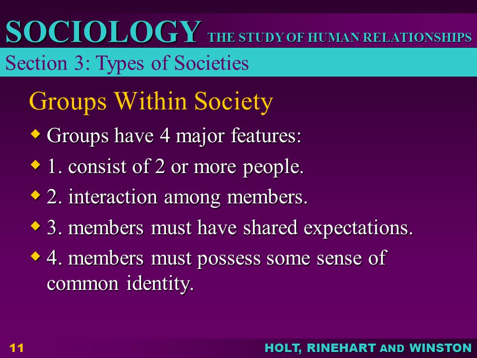 Groups Within Society Section 3: Types of Societies